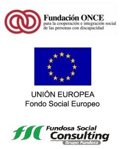Logos de Fundación ONCE, FEDER y Fundosa Social Consulting